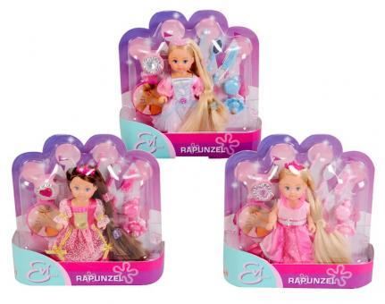 Кукла Еви с длинными волосами Rapunzel, 3 вида