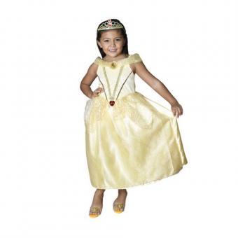7-8 лет Карнавальный костюм Белль (золотой) с тиарой