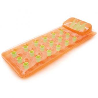 Надувной прозрачный матрас с оранжевым дном