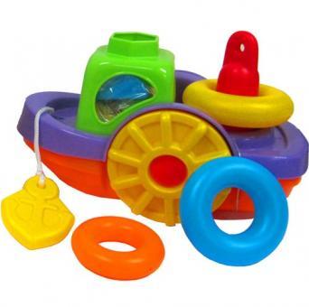 Развивающая игрушка теплоходик-пирамидка