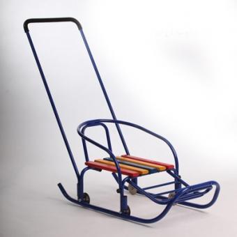 Санки детские ВЭЛ-2к с колесами, толкателем и подножкой
