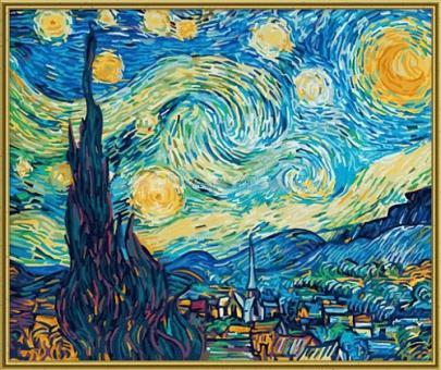 Раскраска по номерам.Звездная ночь художник Ван Гог, 50*60 см