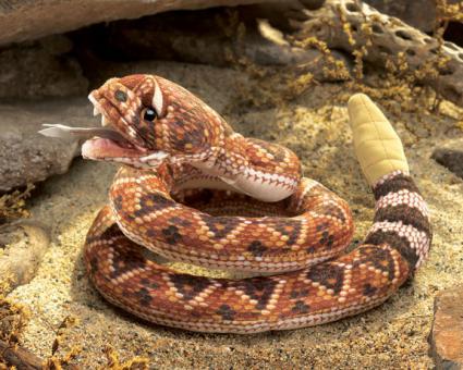 Мягкая игрушка на руку Гремучая змея, 23 см
