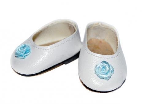 Обувь для кукол 32 см, Туфли белые с голубым цветочком