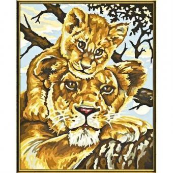 Раскраска по номерам. Львица с львенком, 24х30 см