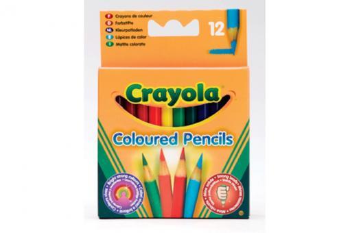 12 коротких цветных карандашей