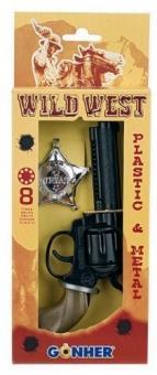 Набор Wild West на 8 пистонов, пластик (револьвер, звезда шерифа)