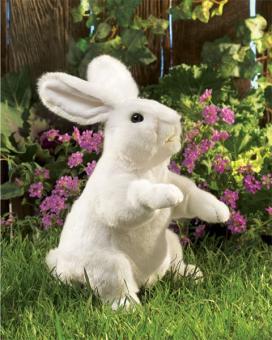 Мягкая игрушка на руку Стоящий белый кролик,43 см