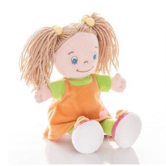 AURORA Игрушка мягкая Кукла девочка 25 см в оранжевом платье