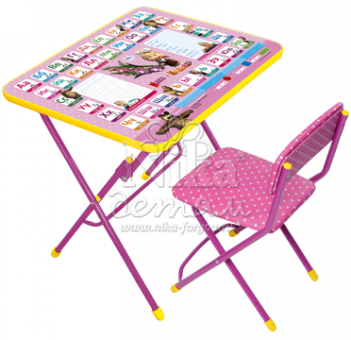 Комплект Стол и стул розовый КУ1 Азбука 3. Маша и Медведь мягкая обивка