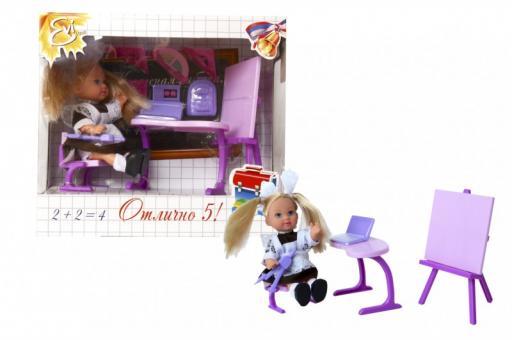 Кукла Еви-школьница с партой +аксессуарами 2 вида