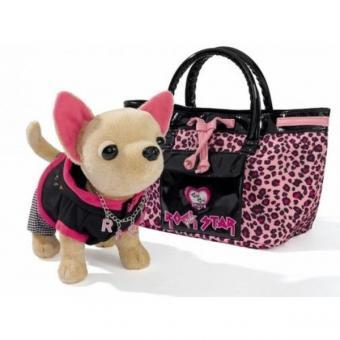 Chi-Chi Love Плюшевая собачка Рок-звезда с сумкой, 20 см