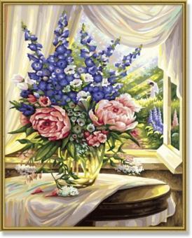 Раскраска по номерам. Цветы на столе, 40х50 см