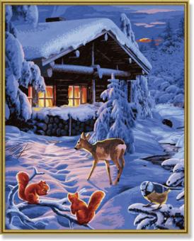 Раскраска по номерам. Романтическая зимняя ночь, 40*50 см