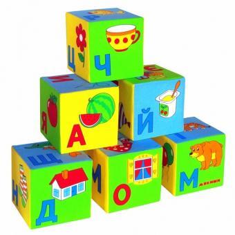 Мякиши Умная азбука 6 кубиков 15х15 см