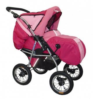 Детская коляска-трансформер Deltim Voyager (Дельтим вояджер) с люлькой, цвет розовый