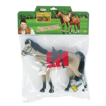 Лошадь с аксессуар. 13 см, флокирован. покрытие
