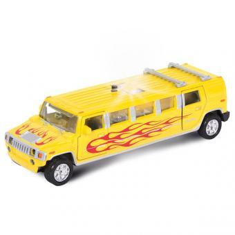 машина  металл. инерц. лимузин желтое пламя, со светом и звуком, открыв. двери2*