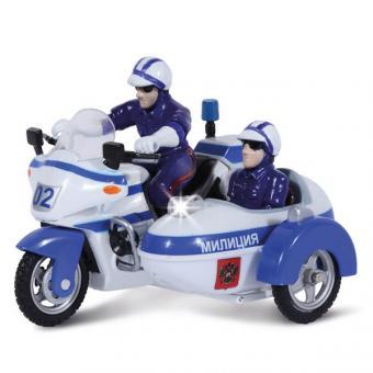 мотоцикл милиция/полиция  с люлькой металл. инерц. со светом и звуком2*