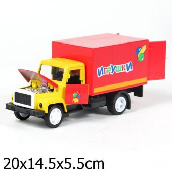 машина металлическая инерционная ГАЗ 3307 игрушки, со светом и звуком, открыв. двери