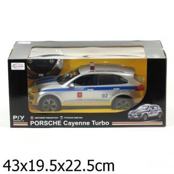 машина радиоуправляемая rastar 1:14 porsche cayenne turbo полиция, со светом и звуком, руссифиц.