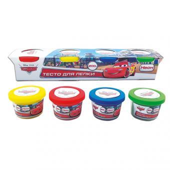 """набор   Disney Тачки """"тесто для лепки неон"""" 4 цвета*50 гр.,"""