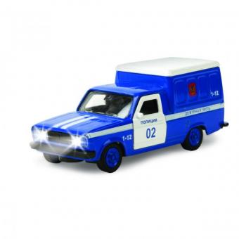 машина  металл. инерц. фургон полиция 1:43, со светом и звуком, открыв. двери2*