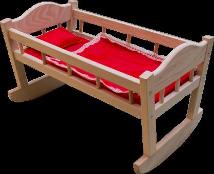 Кроватка-качалка для кукол №11 с бельем дерево)