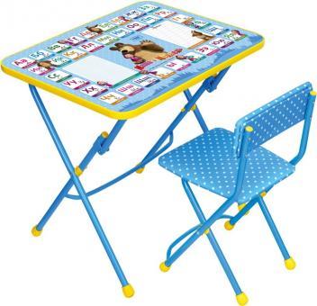 Комплект КУ1/2 Азбука2 Маша и Медведь Стол+стул мягкий синий