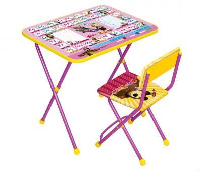 Комплект КУ1/3 Азбука3 Маша и Медведь Стол+стул мягкий (розовый)