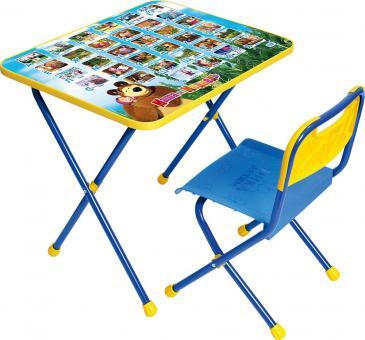 Комплект КП 1/КУ 1 Азбука 1 Познайка Маша и Медведь Стол+стул синий