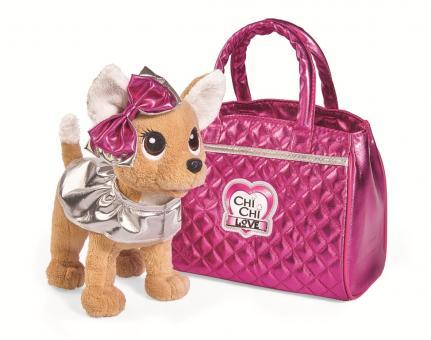 Плюшевая собачка Chi-Chi love  Гламур с розовой сумочкой и бантом, 20 см