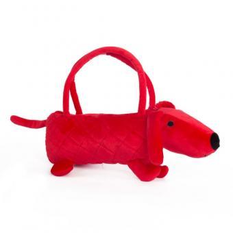 Мягкая игрушка Собачка-сумочка  красная, 35 см