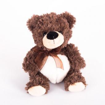 Мягкая игрушка Мишка коричневый сидячий с бантиком, 23 см