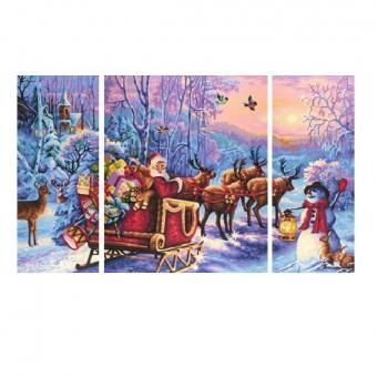 Раскраска по номерам Триптих Дед Мороз, 50х80 см