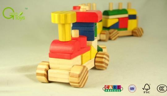 Деревянный конструктор из бамбука Поезд