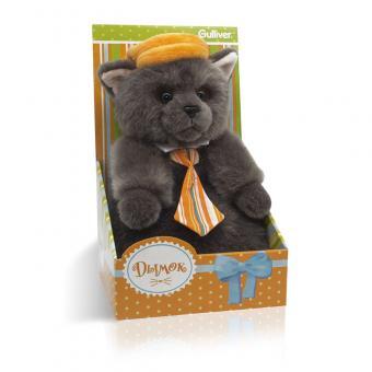 Котик Дымок в картузе и с галстуком, 24 см