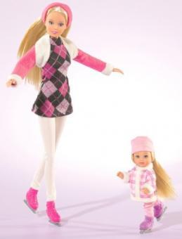 Куклы Штеффи и Еви катаются на коньках