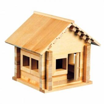 Конструктор деревянный Избушка-Теремок  с куклой-медведем, мебелью и светом