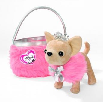 Chi-Chi Love Плюшевая собачка Чихуахуа принцесса, с розовой пушистой сумкой, 20 см