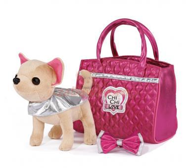 Chi-Chi Love Плюшевая собачка Чихуахуа Гламур с розовой сумочкой и бантом, 20 см