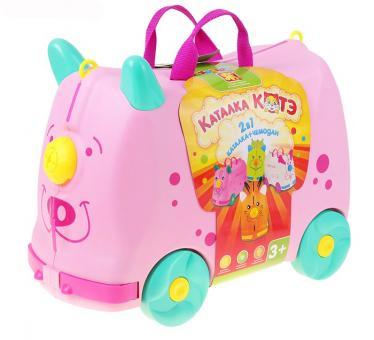 Крошка Я. Каталка-чемодан для игрушек Котэ 2 в 1 розовый