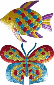 Мозаика из фольги (рыбка, бабочка), 19*14, 2в