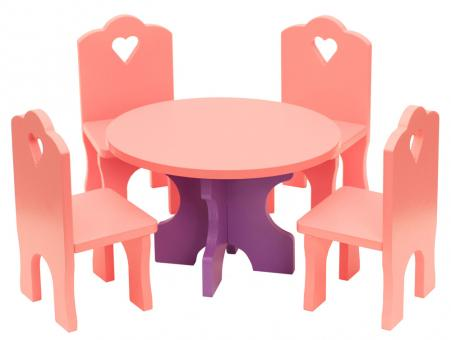 Кукольная мебель деревянная Столик + 4 Стульчика