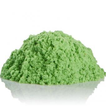 Космический песок 1,5 кг с песочницей и формочками зеленый