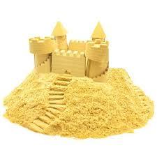 Космический песок 1,5 кг с песочницей и формочками желтый