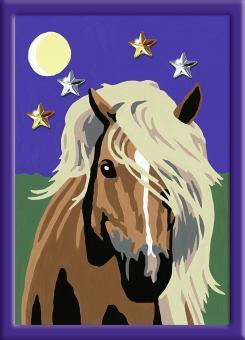 Раскрашивание по номерам  Лошадь в лунном свете, 18*13 см