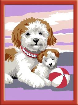 Раскрашивание по номерам  Собака со щенком