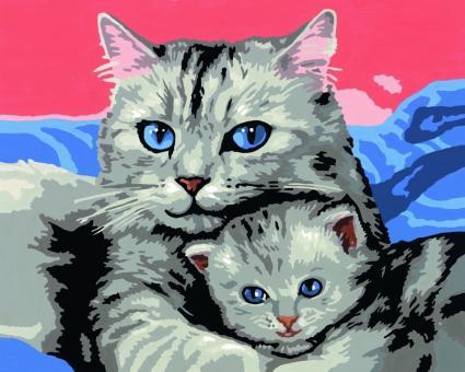 Раскрашивание по номерам  Кошка с котенком, 30*24 см