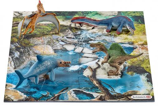 Набор мини-динозавры и пазл Болото